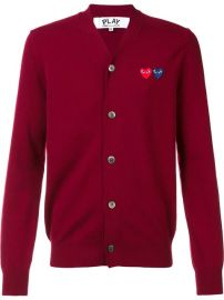 Comme Des Gar  231 ons Play   39 Double Heart  39  Cardigan - Farfetch at Farfetch