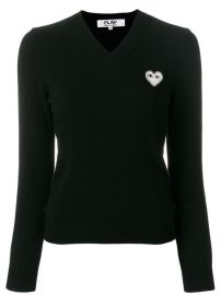 Comme Des Gar  231 ons Play V-neck Heart Logo Sweater at Farfetch