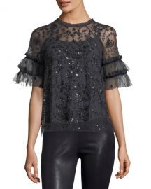 Constellation Short-Sleeve Sequin Tulle Top by Needle & Thread at Neiman Marcus
