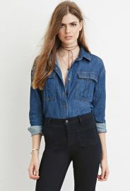 Contemporary Buttoned Denim Shirt  LOVE21 - 2000145634 at Forever 21