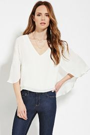 Contemporary Cape-Sleeve Blouse  LOVE21 - 2000182684 at Forever 21
