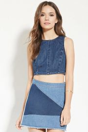 Contemporary Denim Crop Top  LOVE21 - 2000167645 at Forever 21