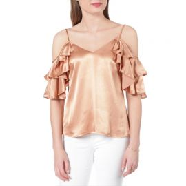 Contemporary Satin Cold Shoulder Ruffle Tank by WAYF at Von Maur