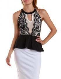 Contrast Lace Peplum Top at Charlotte Russe