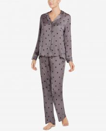 Contrast-Trim Printed Pajama Set at Macys