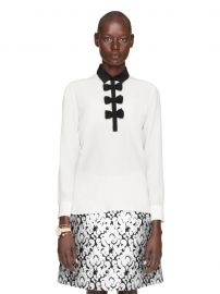 Contrast bow blouse by Kate Spade at Kate Spade