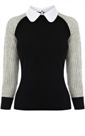 Contrast collar sweater at Karen Millen