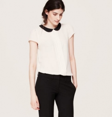Contrast collar top at Loft