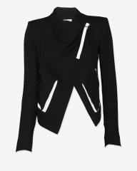 Contrast leather detail crop jacket by Helmut Lang at Intermix