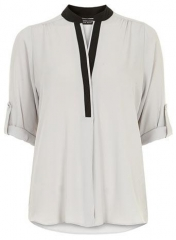Contrast placket blouse at Dorothy Perkins
