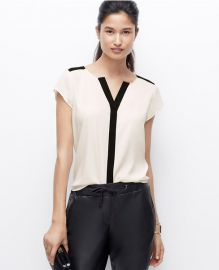 Contrast trim blouse at Ann Taylor