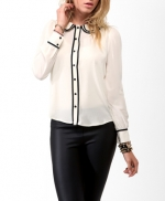 Contrast trim blouse from Forever 21 at Forever 21