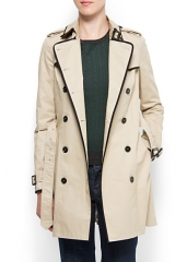 Contrast trim trench coat at Mango