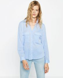 Contrasting Plumetis Shirt at Zara