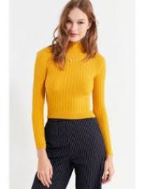 Cooperative Cindy Ribbed Mock-Neck Sweater at Urban Outfitters