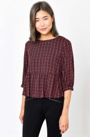 Cooperative Lara Peplum Blouse in red at Urban Outfitters