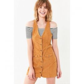 Cooperative Parker Corduroy Button-Down Mini Jumper Dress  at Urban Outfitters
