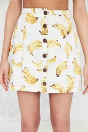 Cooperative Printed Twill Button-Front Mini Skirt at Urban Outfitters