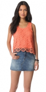 Coral crochet tank top by BB Dakota at Shopbop