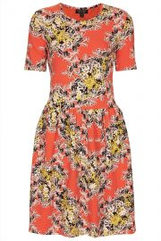 Coral floral flippy dress at Topshop
