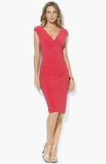 Coral surplice dress by Ralph Lauren at Nordstrom