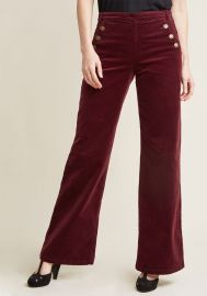 Corduroy Wide-Leg Trousers with Buttons  at ModCloth