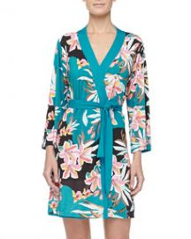 Cosabella Ibisco Floral Print Short Robe Sapphire at Neiman Marcus