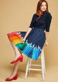 Cotton A-Line Skirt with Pockets in Rainbow at ModCloth