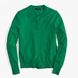 Cotton Jackie Cardigan Sweater warm jade at J. Crew