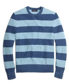 Cotton Cashmere Stripe Crewneck Sweater at Brooks Brothers