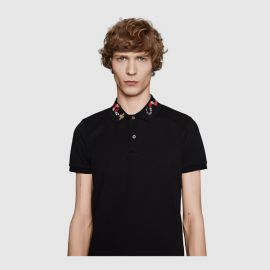 Cotton Polo with Snake Embroidery at Gucci