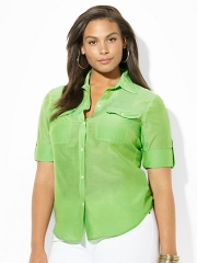 Cotton Silk Work Shirt at Ralph Lauren