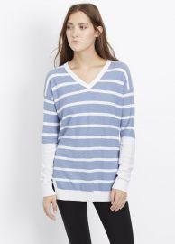 Cotton Slub Block Stripe Slim V-Neck Sweater at Vince