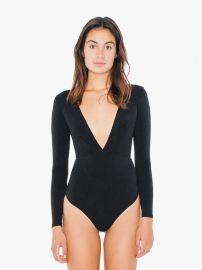 Cotton Spandex Double V Bodysuit at American Apparel