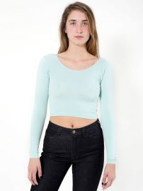 Cotton Spandex Jersey Long Sleeve Crop Top at American Apparel