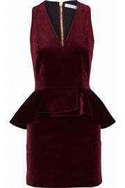 Cotton-blend velvet peplum mini dress by Pierre Balmain at The Outnet