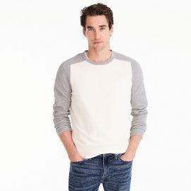 Cotton-cashmere piqué crewneck baseball sweater at J. Crew