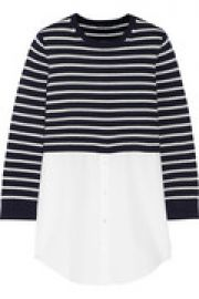 Cotton-paneled striped cotton and cashmere-blend top at The Outnet
