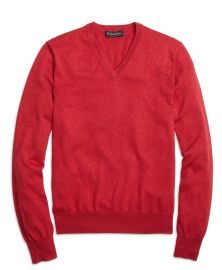 Cotton vneck sweater at Brooks Brothers