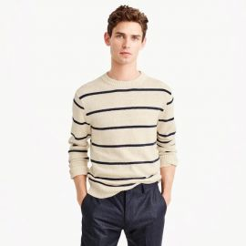 Cotton-wool crewneck sweater in wide stripe by J. Crew at J. Crew
