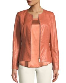 Courtney Round-Neck Leather Zip Jacket at Neiman Marcus