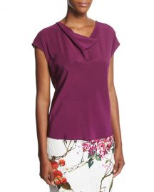 Cowl-Neck Cap-Sleeve Silk Blouse at Neiman Marcus