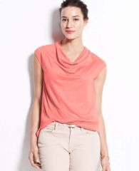 Cowl neck top in orange at Ann Taylor