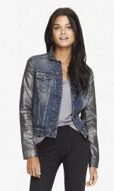 Crackled Metallic Sleeve Denim Jacket at Express