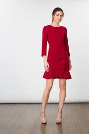 Cranberry Stretch Crepe Leanach Dress by Shoshanna at Shoshanna