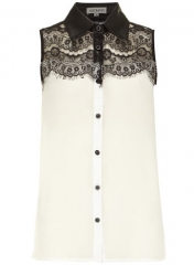 Cream contrast lace shirt at Dorothy Perkins