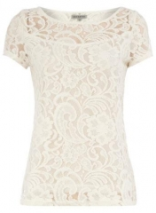 Cream lace tee at Dorothy Perkins