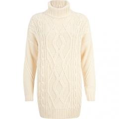 Cream roll neck sweater at River Island