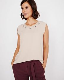 Crepe Blouse with Jeweled Neck Detail at RW&CO