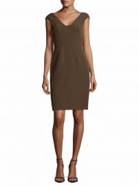 Crepe Sheath Olive Dress by Adrianna Papell at Saks Off 5th